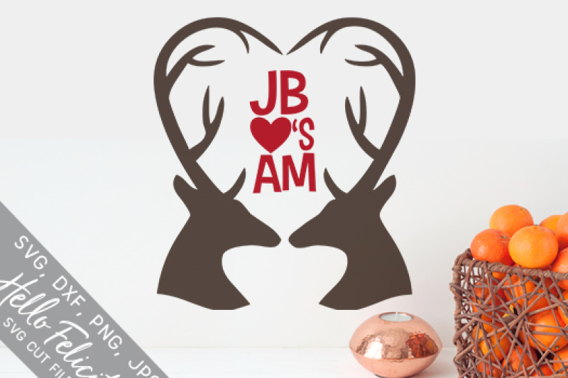 Deer Antlers Heart Monogram Svg Cutting Files By Hello Felicity
