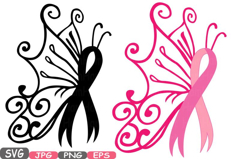 Awareness Ribbon Butterfly Svg Cricut Silhouette Swirl
