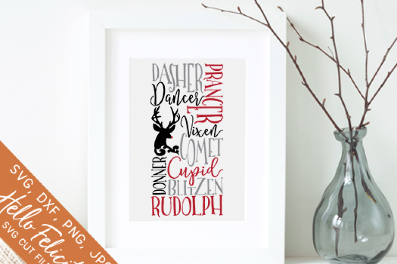 Christmas Reindeer Names Svg Cutting Files By Hello Felicity