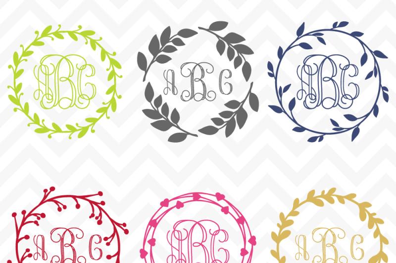 Monogram Wreaths By Sonya Dehart Design Thehungryjpeg Com