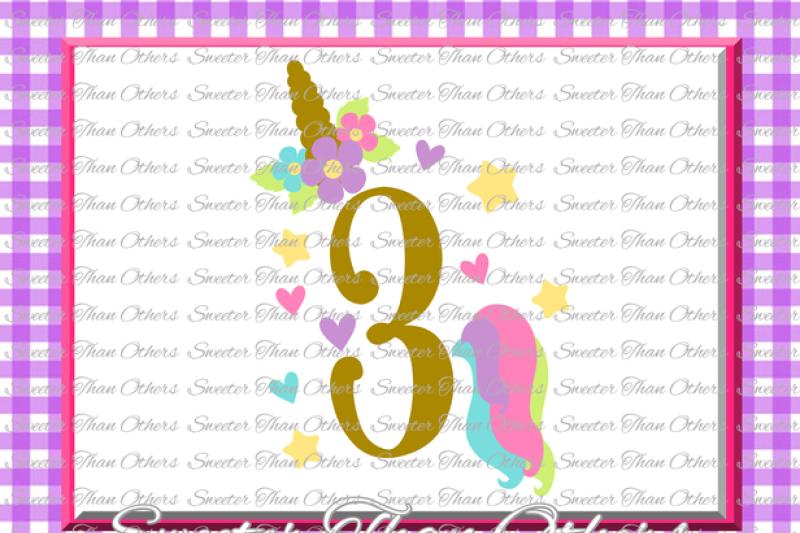 Third Birthday Svg Birthday Unicorn Svg Girl Dxf Silhouette