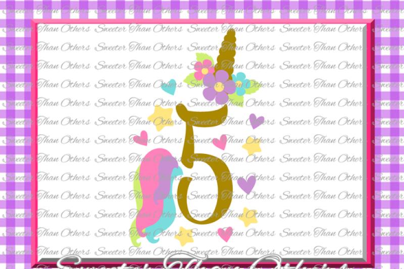 Fifth Birthday Svg 5th Birthday Unicorn Svg Girl Dxf Silhouette