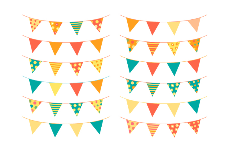 Cute Summer Bunting Clipart Birthday Banner Flags Party Pennant