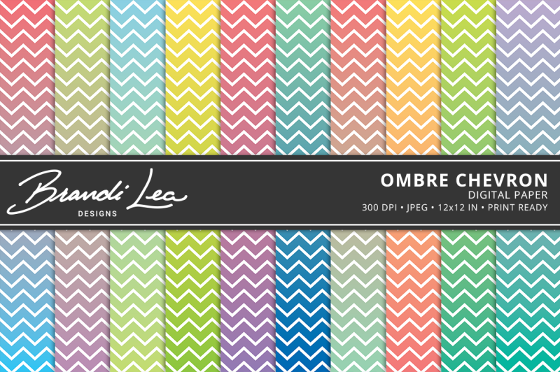 Download Free Ombre Chevron Digital Paper Pack Crafter File