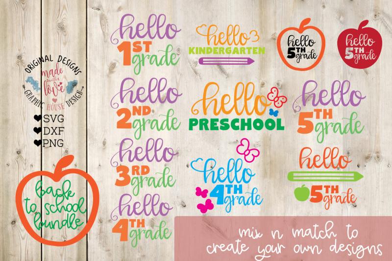 Preschool To Fifth Grade Cut Files Bundle Design Free