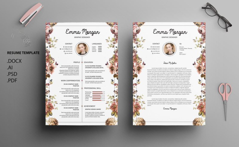 Floral Side Resume Template CV Letterhead M By Showy68Template