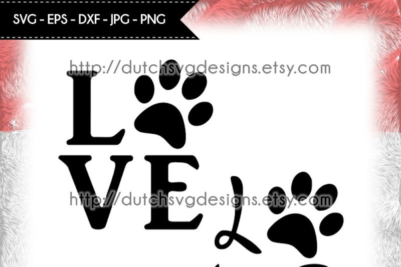 Free Cutting File Love With Pawprint In Jpg Png Svg Eps Dxf For Cricut Silhouette Paw Svg Pawprint Svg Love Svg Cricut Svg Svg Cut File Crafter File Best Free
