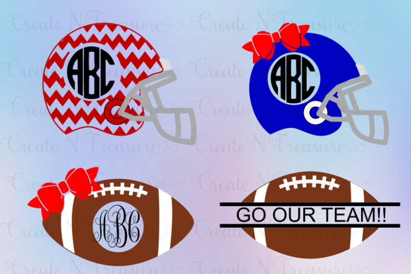 Football Monogram Svg Cutting Files For Silhouette Cameo And