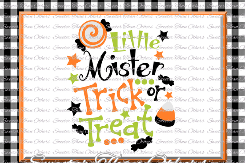 Halloween Trick Or Treat Silhouette.Halloween Svg Little Mister Trick Or Treat Svg Svg Dxf