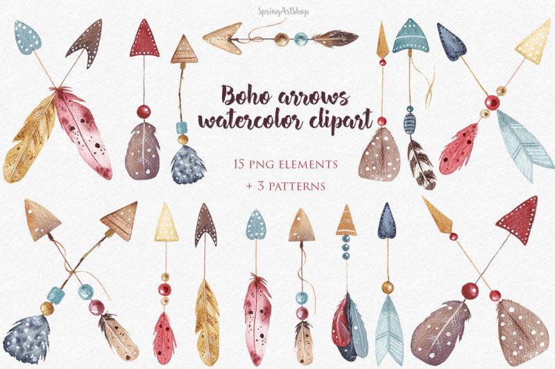 boho watercolor arrows feather watercolor clipart tribal