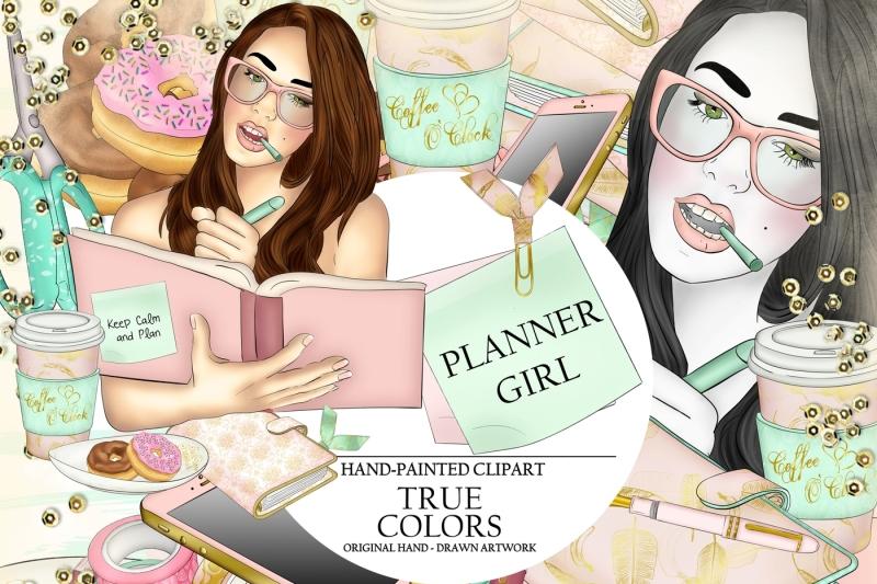 Planner Girl Mixed Planner Clipart