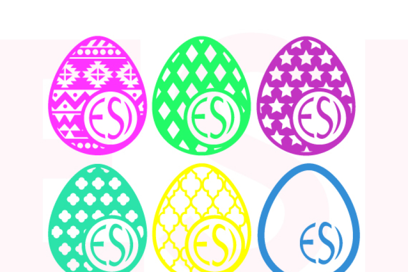 Get Patterned Easter Egg Design With Circle For A Monogram – Set 2 Crafter Files