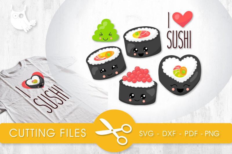 I Love Sushi Svg Png Eps Dxf Cut File Design Svg Free Download Love