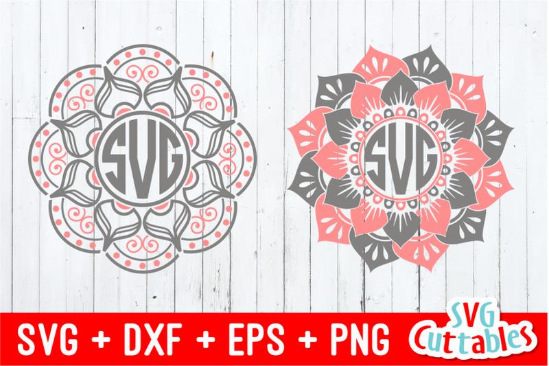 Mandala Monogram Frames By Svg Cuttables Thehungryjpeg Com