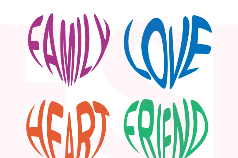 Love Family Heart Friend Word Hearts Svg Dxf Eps By Esi