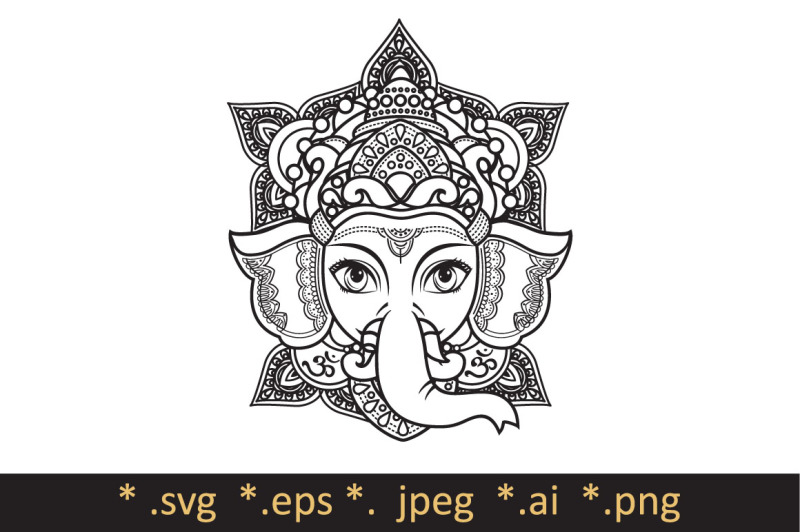 Free Lord Ganesha Template For Coloring Book Cutting File Svg Vector Illustration Of Happy Lord Ganesh For Ganpati Chaturthi Crafter File Free Svg Cut Files