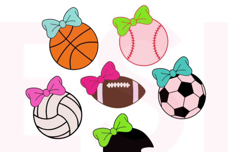Sports Set With Bow Svg Dxf Eps By Esi Designs