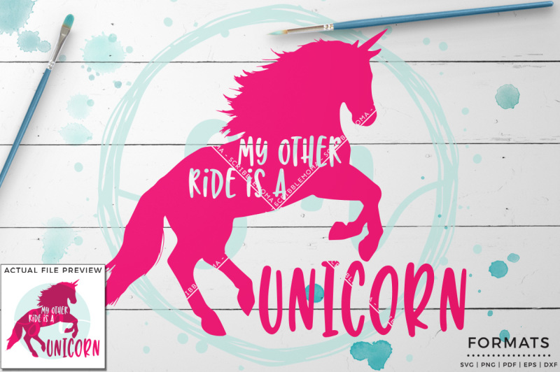 My Other Ride Is A Unicorn Svg Small Commercial Use Svg