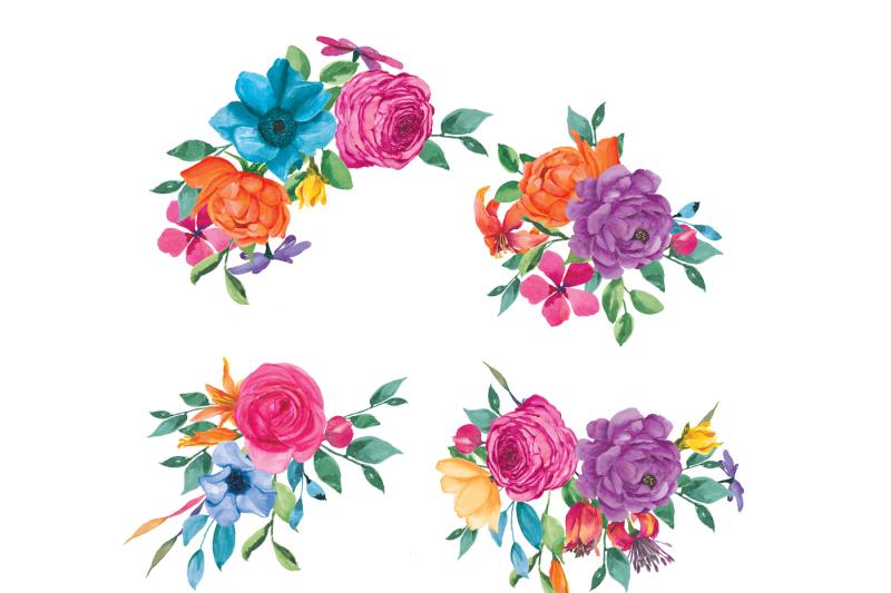 Watercolor Fiesta Flowers Clip Art By Patishop Art ...