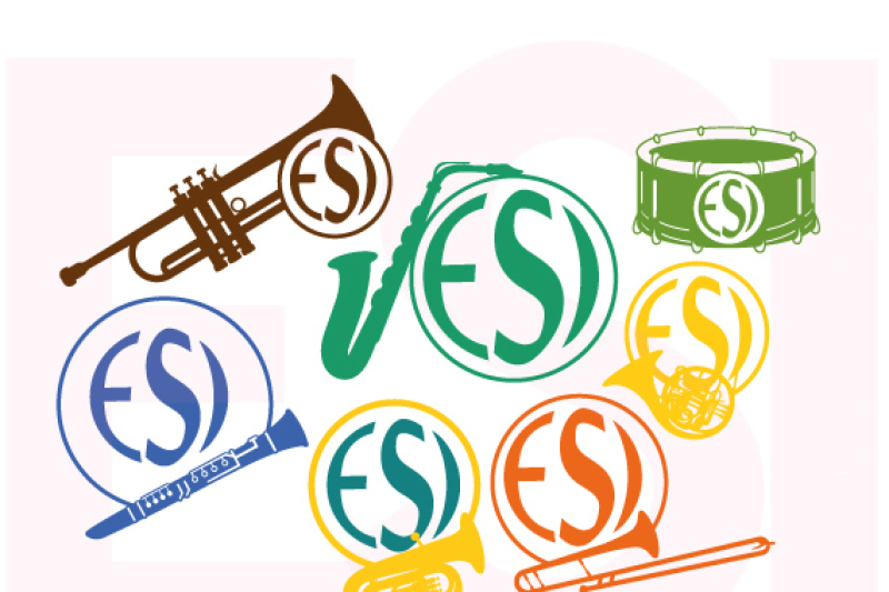 Musical Instrument Design Set With Circle For A Monogram By Esi Designs Thehungryjpeg Com