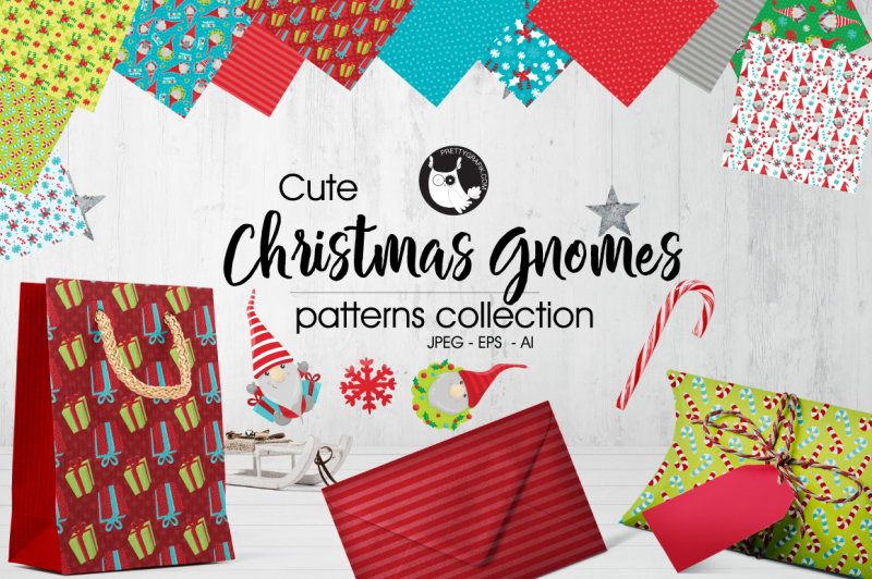 Christmas Gnomes Pattern.Christmas Gnomes Patterns Collection Digital Papers By