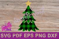Svg Buffalo Plaid Christmas Tree With Star Shirt Sign Stencil
