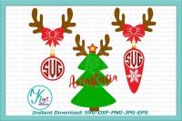 Deer Monogram Svg Reindeer Monogram Svg Antlers Monogram Svg