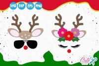 Reindeer Face Horns Deer Svg Eyelashes Christmas Cut File By