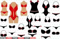 Lingerie Models Silhouette Svg Cutting Files Digital Clip Art