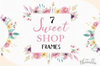 Watercolor Floral Sweet Pink Purple Clipart Frames Flowers