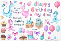 Watercolor Happy Birthday Dino By Passionpngcreation