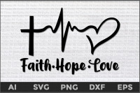 25+ Faith Hope Love Heartbeat Svg Design