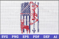 Bow Hunting Deer Hunting Distressed American Flag Hunting Bow
