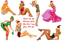 Retro Pin Up Christmas Girls Clip Art By Me And Amelie