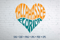 Tallahassee Florida Word Art In Heart Shape Svg Dxf Eps Png Jpg By Prettydd Thehungryjpeg Com