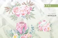 cactus Romantic wedding Aurora Floral Watercolor clipart wedding invitation DIY tender green branches peonies flowers mint green