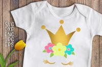 Princess Svg Princess Birthday Svg Unicorn Face Svg Gold Crown