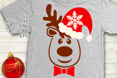 Christmas reindeer svg, Reindeer head svg, Santa hat svg, deer head, Santa face svg, Christmas svg, Boy reindeer svg, Christmas boy svg,dxf