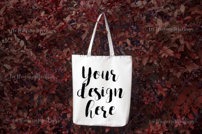 Autumn fall winter tote shopping grocery bag mockup Halloween mock up