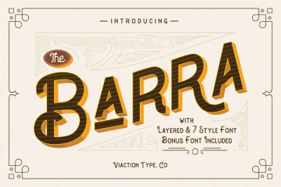 The Barra Typeface |7 Font Family + Bonus