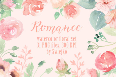 Romantic watercolor  floral set