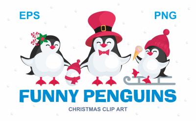 Funny penguins. Christmas clip art.