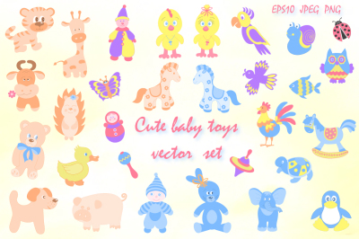 Cute baby toys vector set