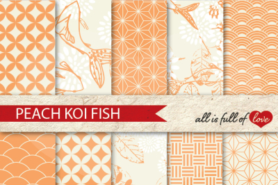 Peach Patterns Koi Fish Background Kit Digital Scrapbook