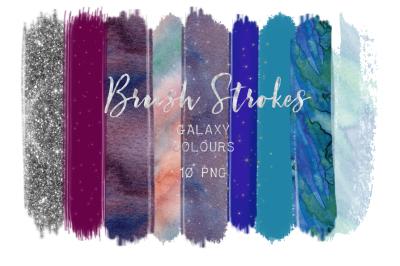 Brush Strokes Clip Art. Galaxy colours. Star galaxy colors: silver glitter, light purple, gold stars, blue, purple Digital Design Resources