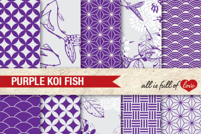 Purple Patterns Koi Fish Background Kit