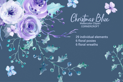 Watercolor Clipart Christmas Blue