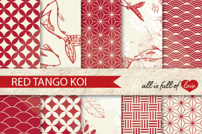 Red Tango Patterns Koi Fish Background Kit
