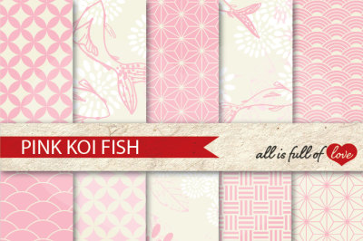 Pale Pink Patterns Koi Fish Background Kit