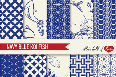 Navy Blue Patterns Koi Fish Backgrounds Set